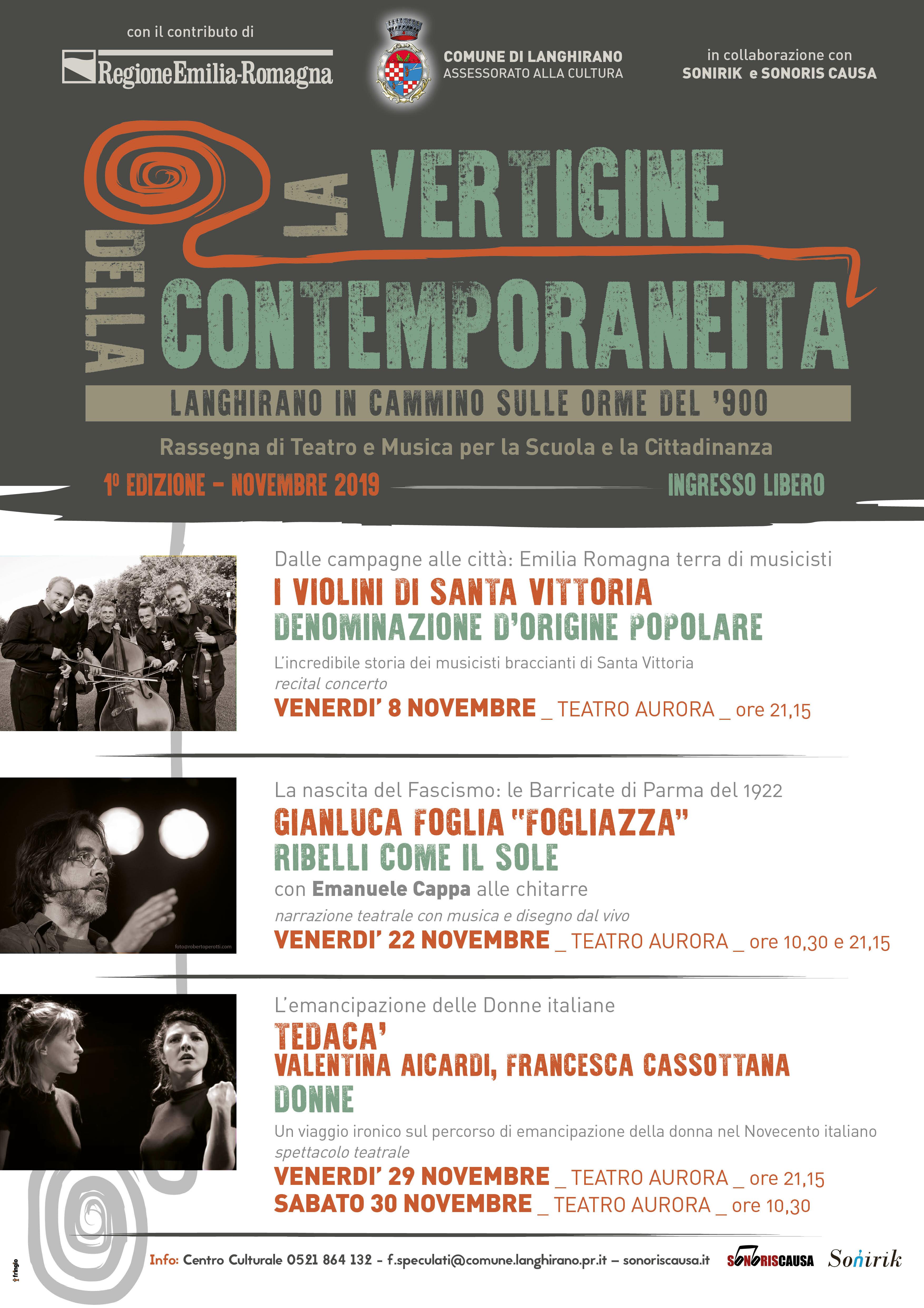 La vertigine della contemporaneità – Langhirano in cammino sulle orme del '900, rassegna di teatro e musica