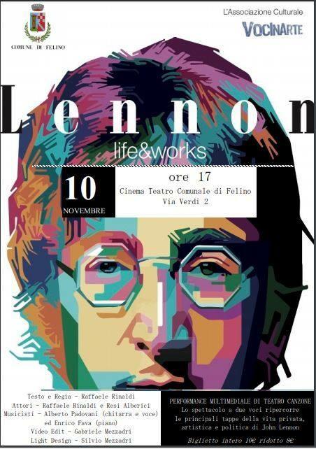 """""""Lennon: Life&Works"""". Una performance multimediale di teatro canzone al teatro Comunale di Felino"""