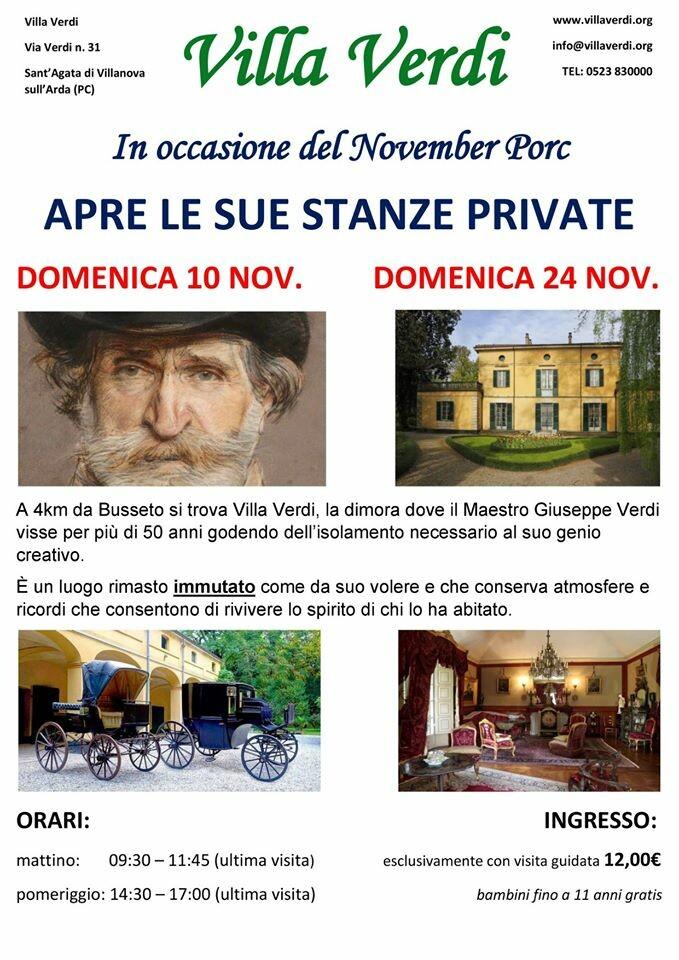 """Apertura stanze segrete nella Villa di Verdi in occasione del """"November porc"""""""