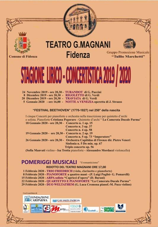 Stagione lirico-concertistica 2019/2020 al Teatro G. Magnani di Fidenza