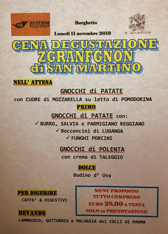 Tradizionale cena  di SAN MARTINO con degustazione ZGRANFGNON - GNOCCHI all'Osteria della Posta a Borghetto
