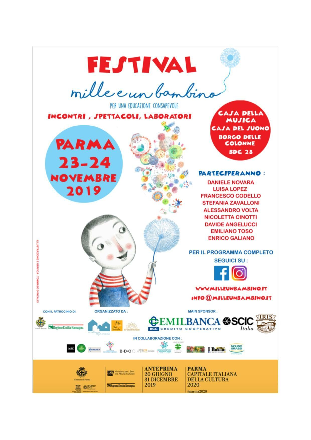 """Festival """"Mille e un bambino - Per un'educazione consapevole"""": programma del 23"""