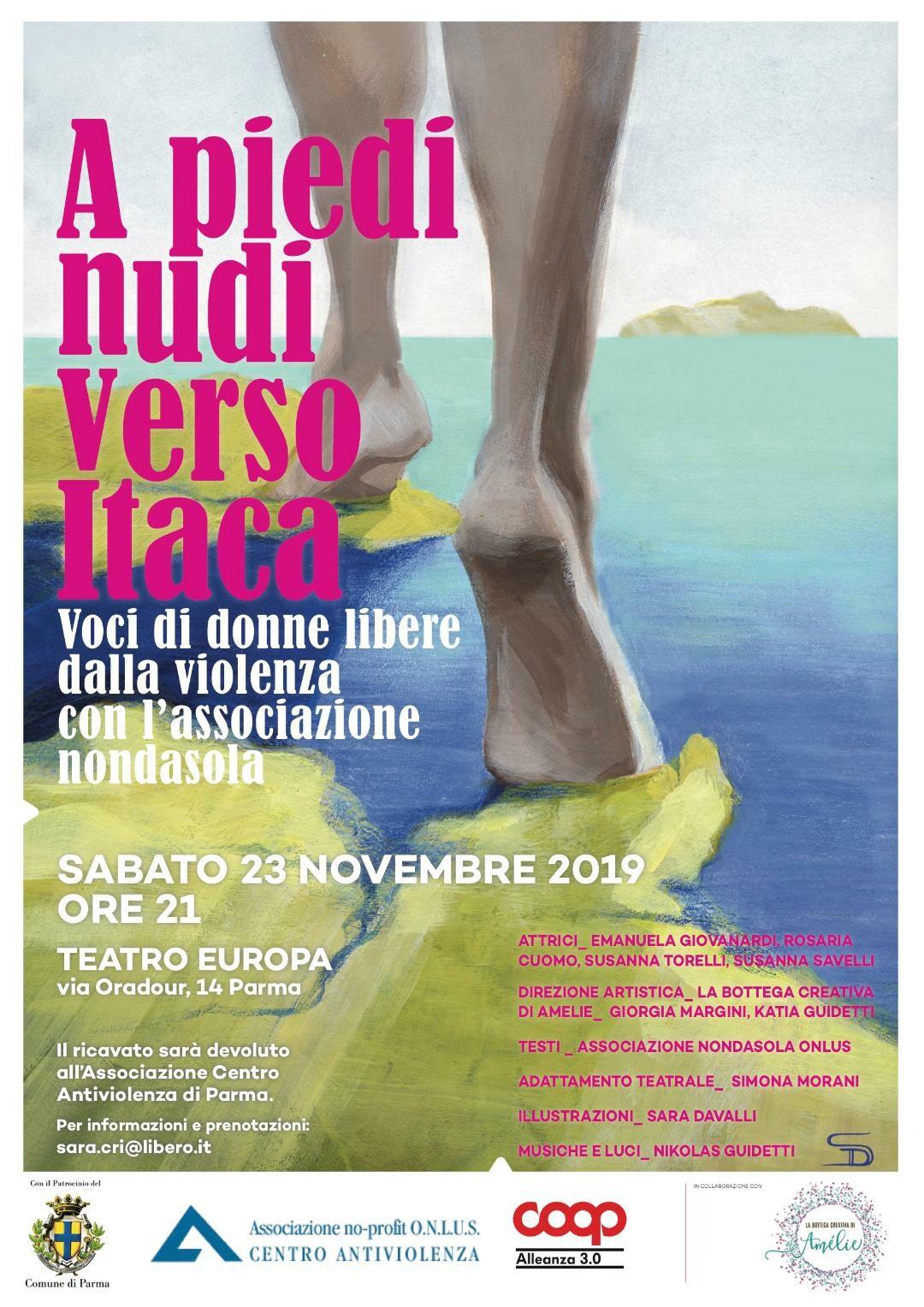 """L'Associazione Centro Antiviolenza è felice di presentarvi lo spettacolo teatrale:  """"A piedi nudi verso Itaca"""""""