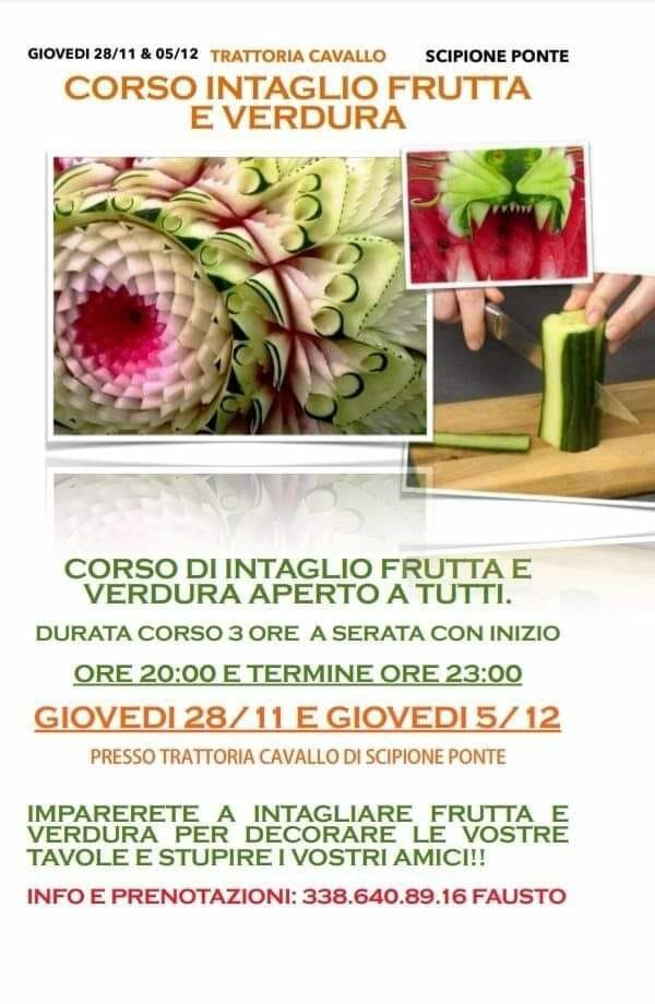 Corso di intaglio frutta e verdura organizato dalla Proloco Scipione e Case Passeri