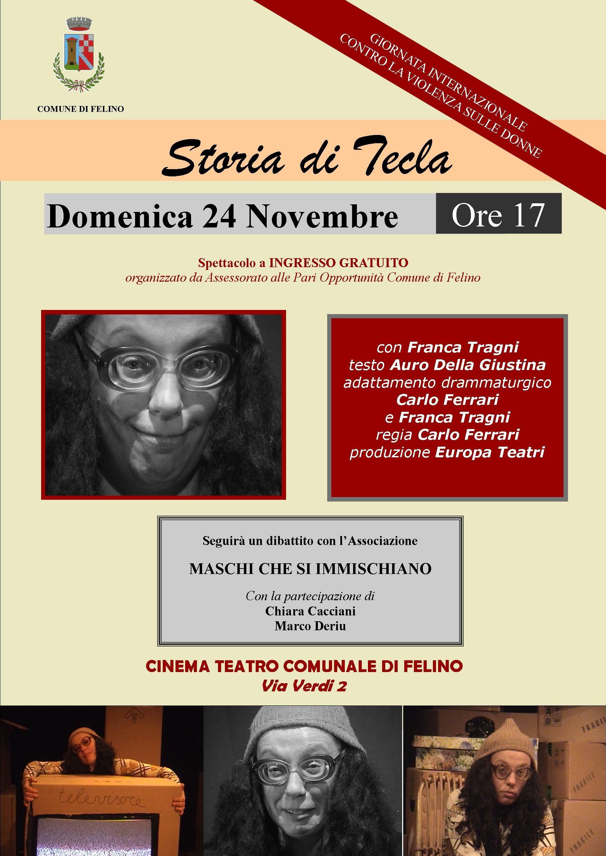 Storia di Tecla. A teatro nella Giornata contro la violenza sulle donne
