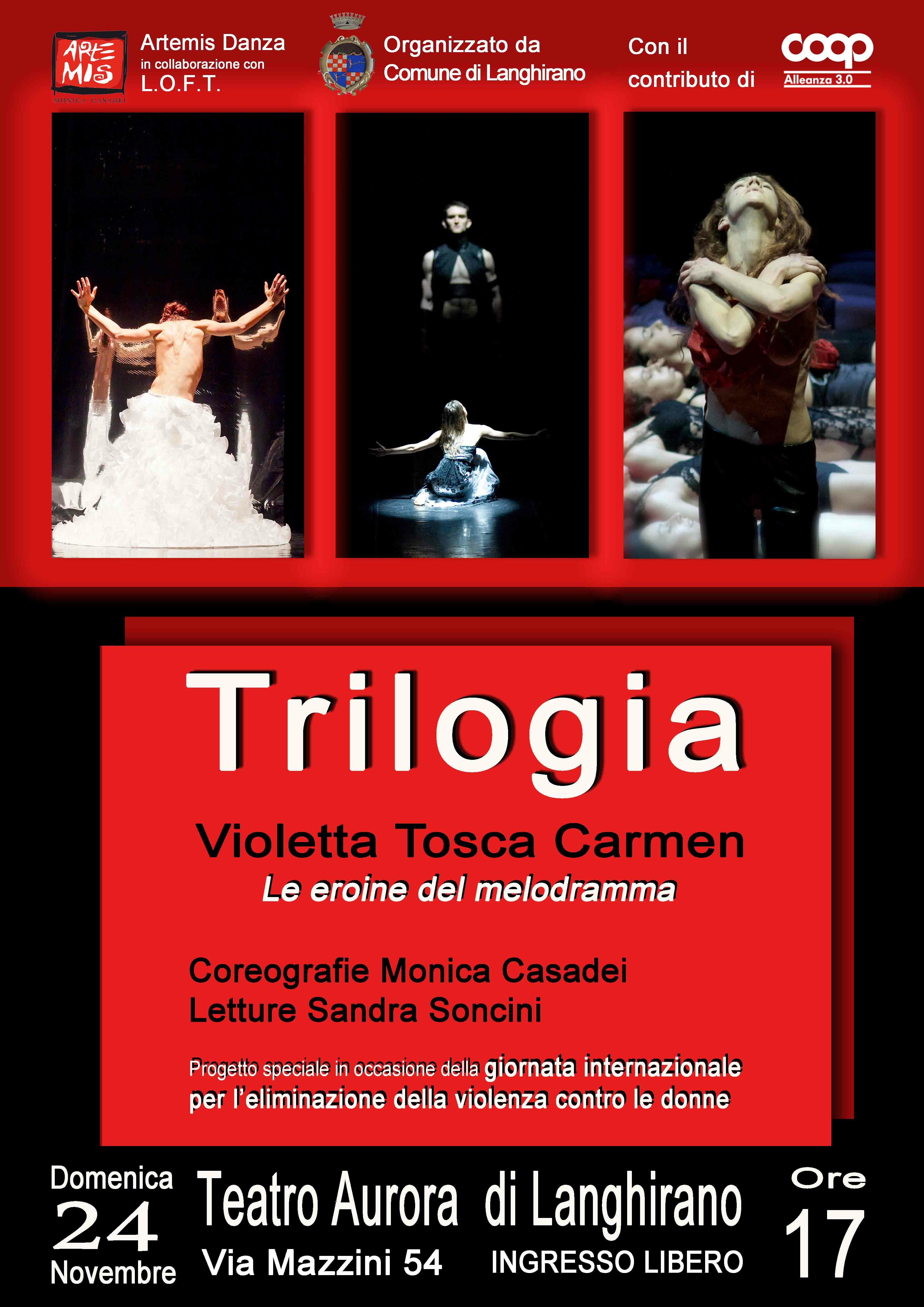 Trilogia Violetta Tosca Carmen Le eroine del melodramma  In occasione della Giornata Internazionale per l'eliminazione della violenza contro le donne