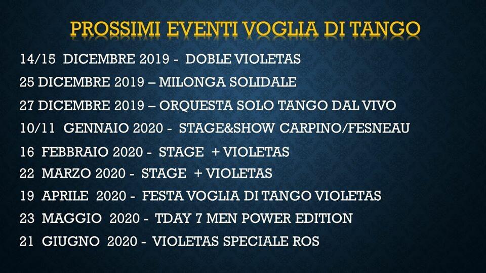 Programma eventi di Voglia di Tango