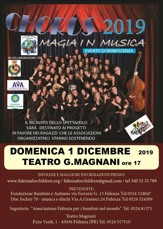 Chorus 2019 magia in musica Il 1° dicembre l'evento proposto da Fidenza per i Bambini nel Mondo e AVA