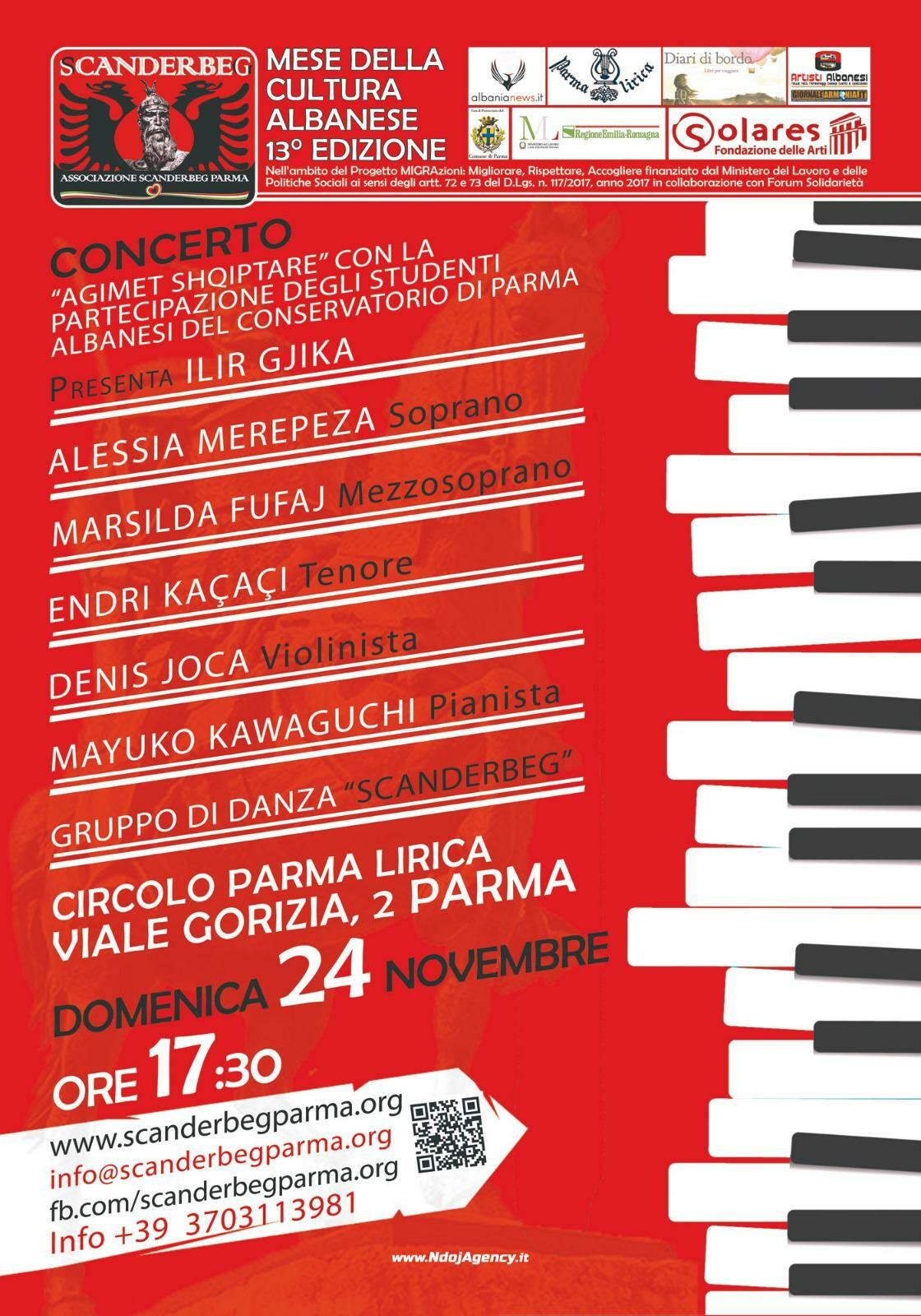 Mese della cultura albanese: concerto  anche degli studenti del Conservatorio di Parma e il gruppo di Danza Scanderbeg