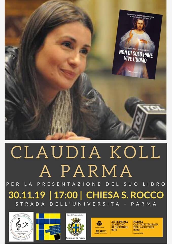 Claudia Koll a Parma per la presentazione del suo ultimo libro