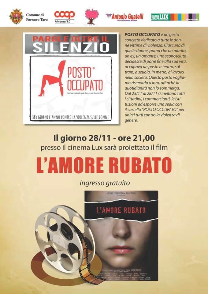 """Giornata contro la violenza sulle donne : proiezione gratuita del film """"L'Amore Rubato"""", diretto da Irish Braschi"""
