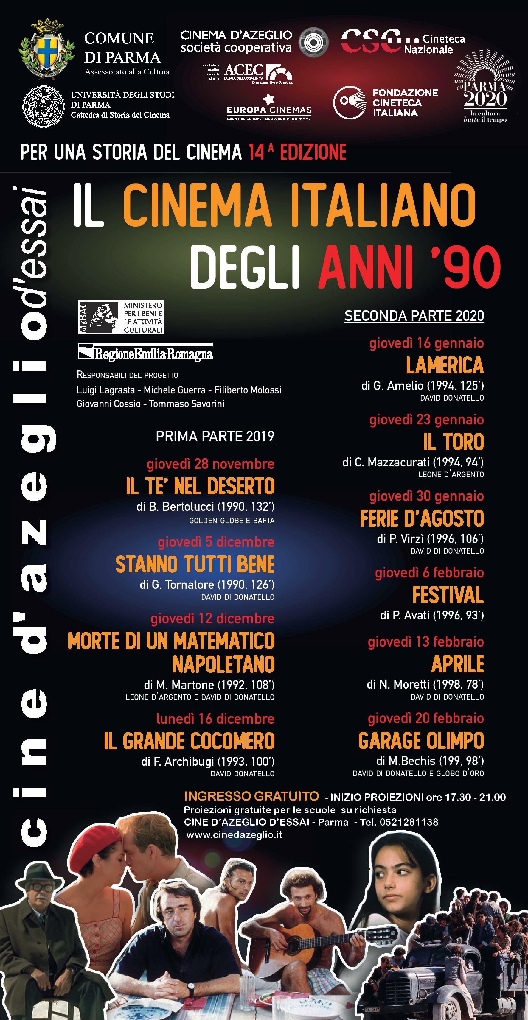 """""""Il cinema italiano degli anni '90"""" Al cinema D'Azeglio la XIV edizione del progetto """"Per una storia del cinema"""""""
