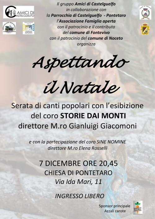 """Concerto """"Aspettando il Natale"""" , serata di canti popolari con l'esibizione del coro """"STORIE DAI MONTI"""" diretto dal Maestro GianLuigi Giacomoni"""