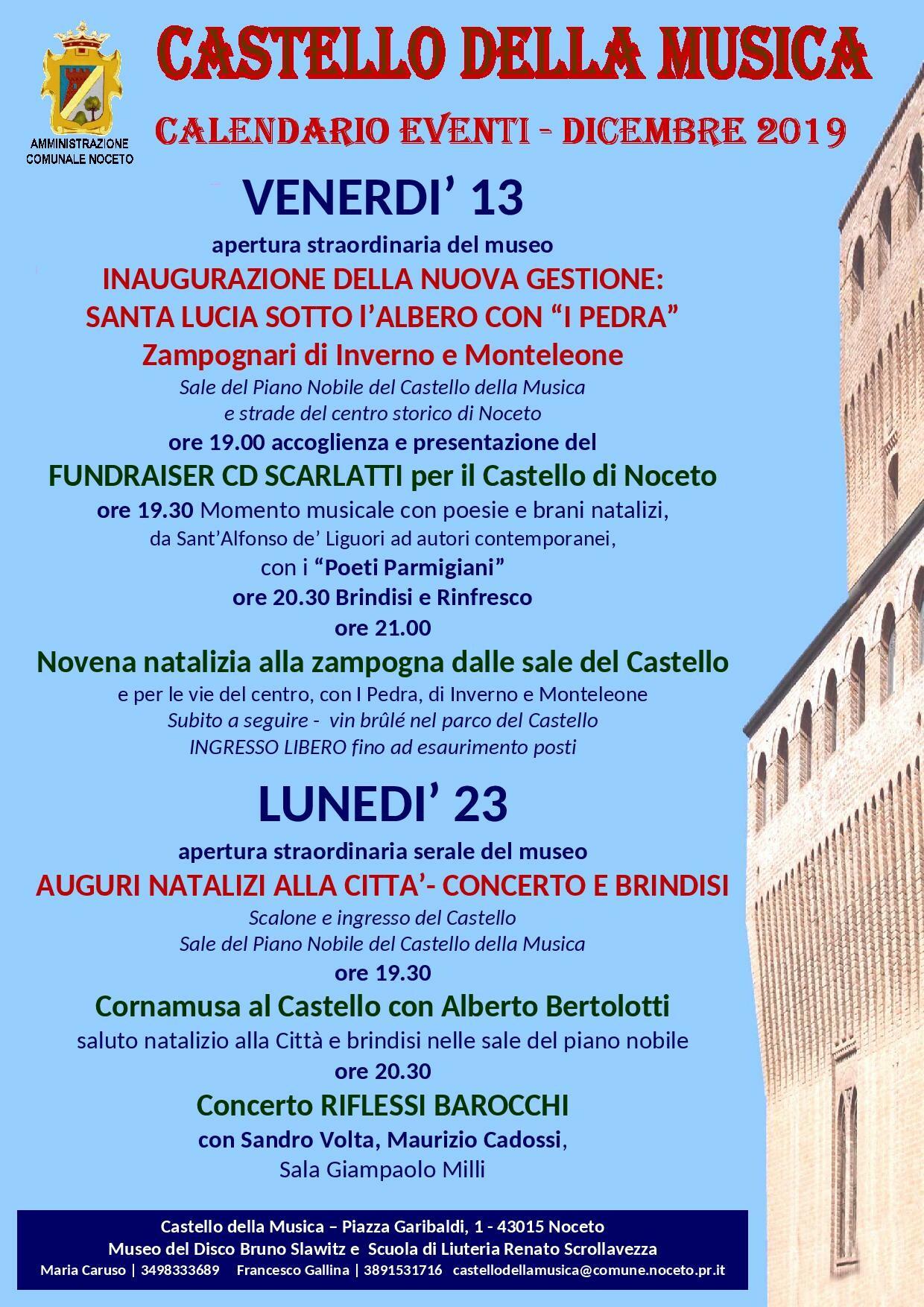 Castello della Musica: calendario eventi dicembre