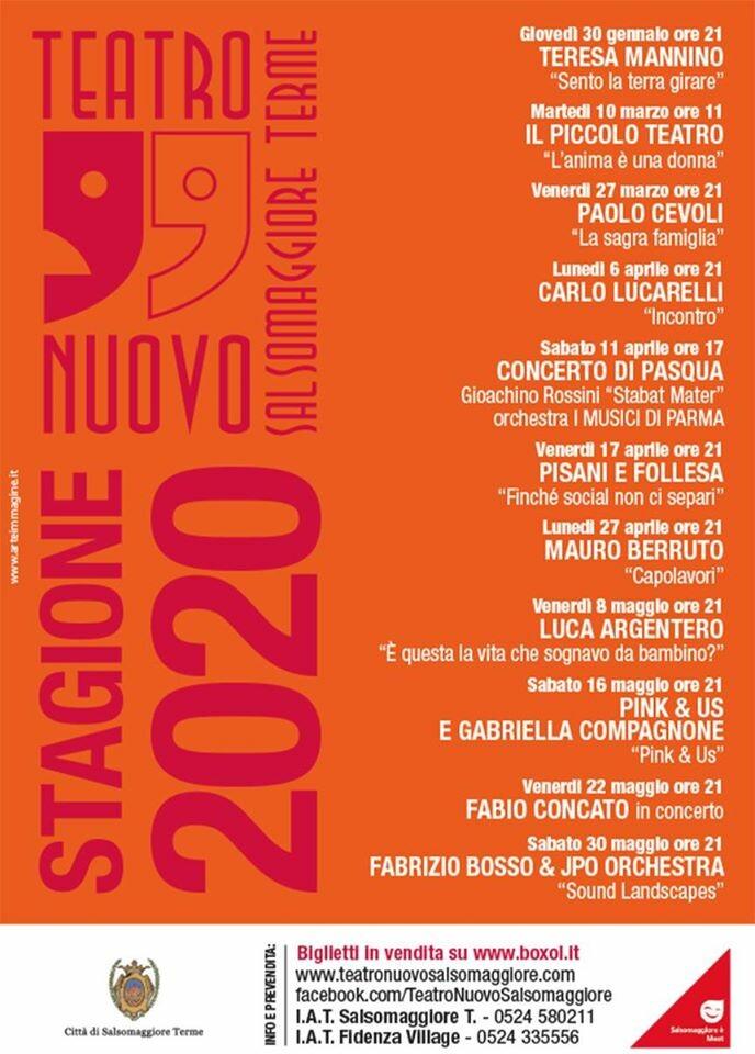 Stagione Teatrale 2020 del TEATRO NUOVO di Salsomaggiore Terme