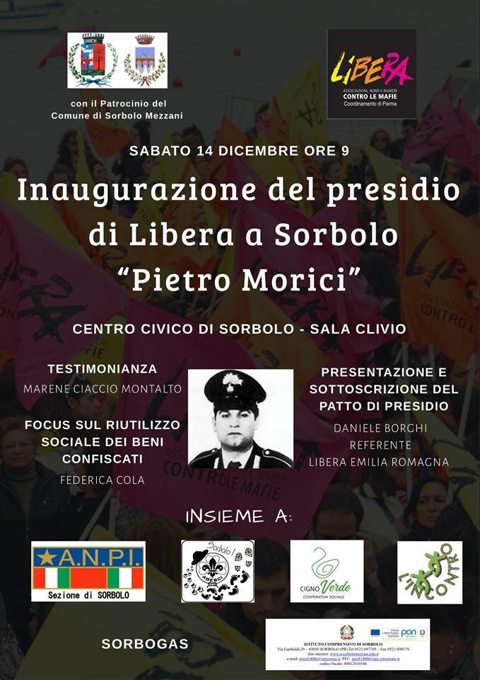 """Inaugurazione presidio di Libera a Sorbolo intitolato alla memoria di """"Pietro Morici"""""""