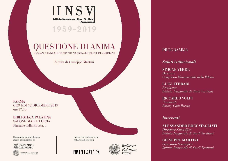 """""""Questione di anima. Sessant'anni all'Istituto nazionale di studi verdiani"""", a cura di Giuseppe Martini"""