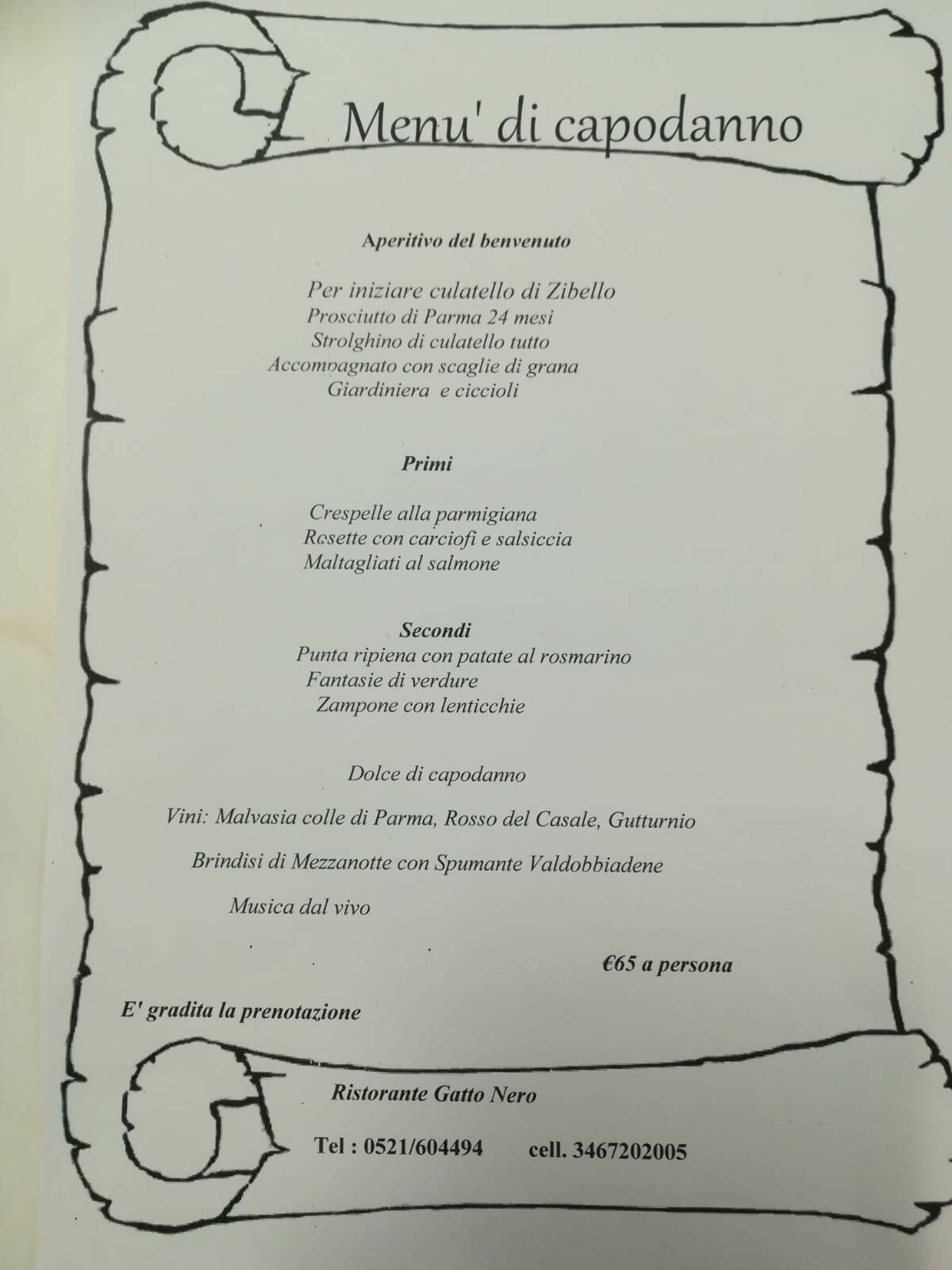 Ultimo dell'anno al ristorante Gatto Nero