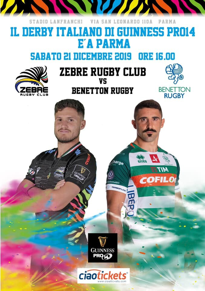 Sabato 21 ore 16:00 allo Stadio Lanfranchi di Parma si giocherà il Derby d'Italia di Pro 14 fra Zebre Rugby e Benetton Rugby