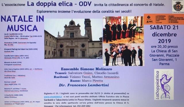 """Concerto di Natale in favore dell'associazione """"La Doppia Elica"""" in San Giovanni"""
