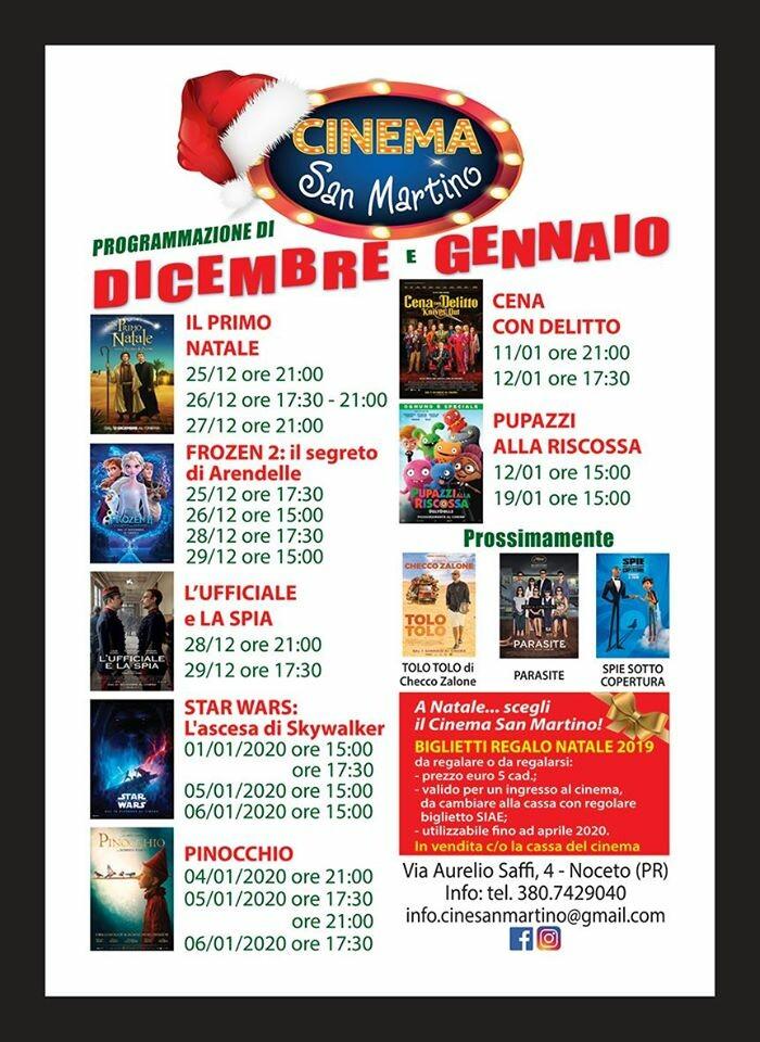 Cinema San Martino Noceto: programmazione dicembre - gennaio