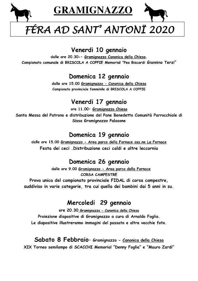 Fera ad Sant'Antoni 2020 a Graminazzo