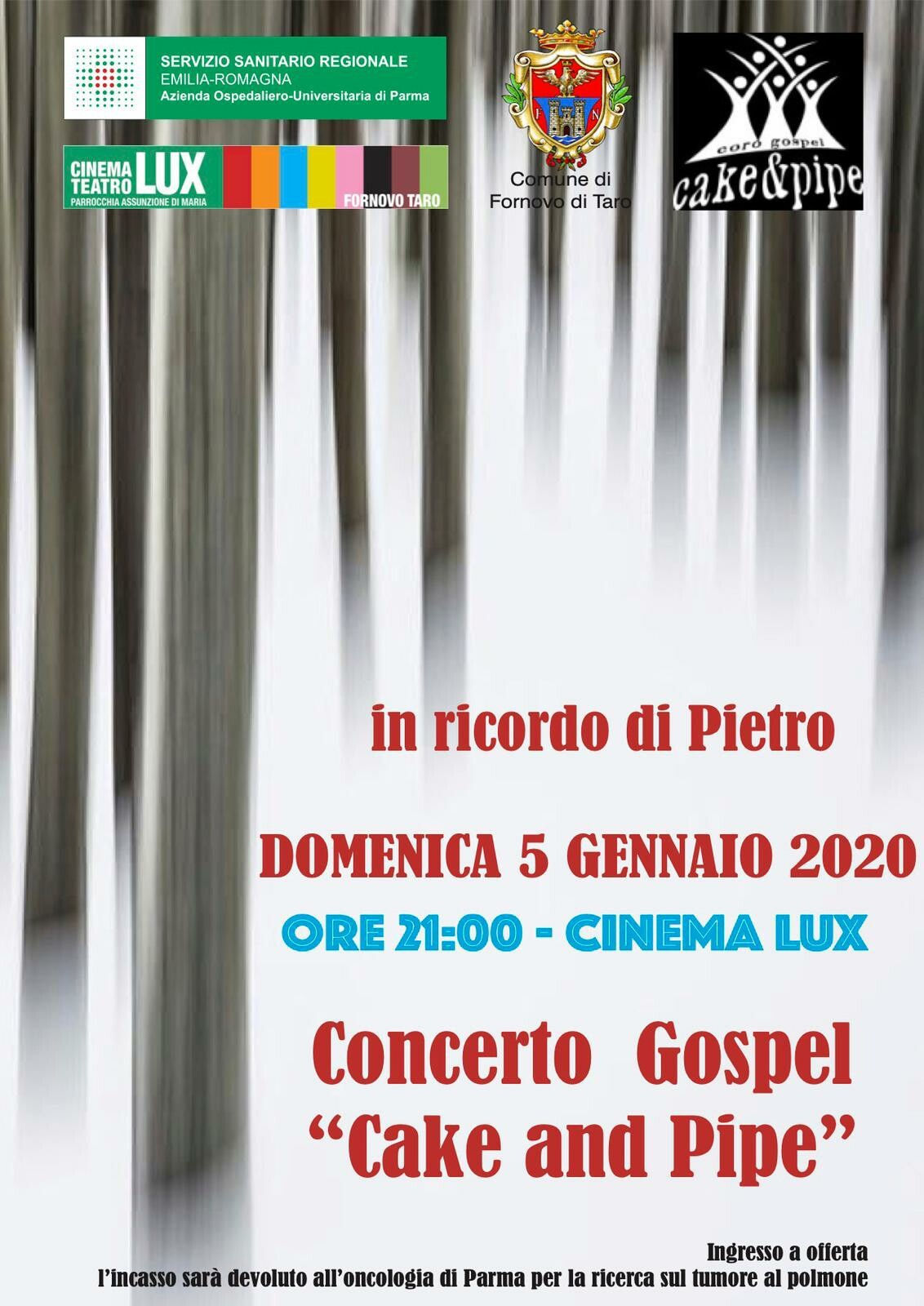 Concerto gospel dei Cake and Pipe Evento speciale, in ricordo di Pietro Gardelli. al cinema LUX