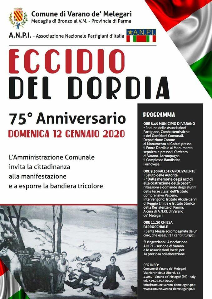 """Celebrazioni istituzionali """"Eccidio del Dordia"""""""