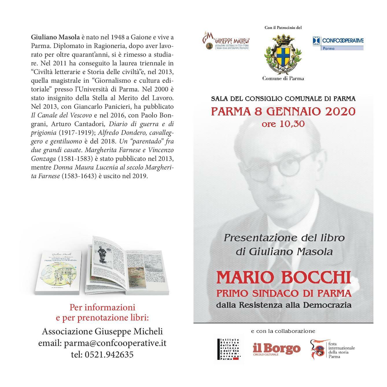Presentazione del libro MARIO BOCCHI primo Sindaco di Parma