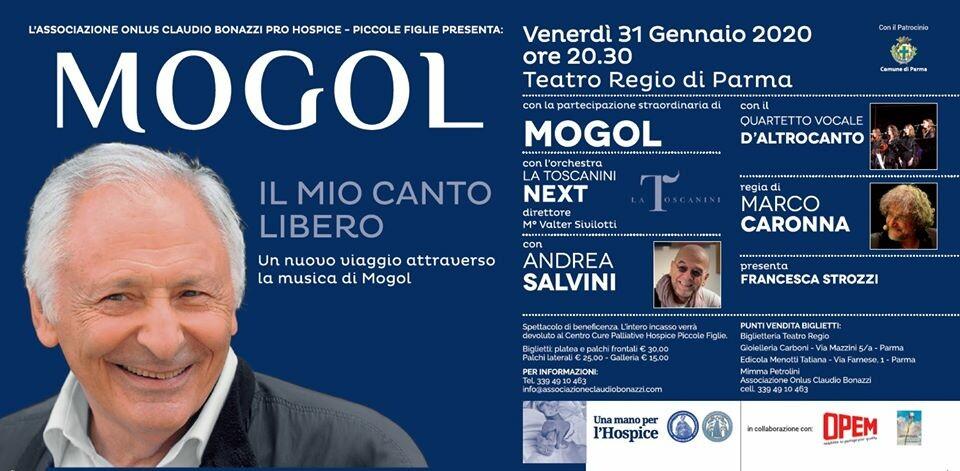 """MOGOL al Regio con il suo """"Il mio canto libero"""" per l'Hospice piccole figlie"""