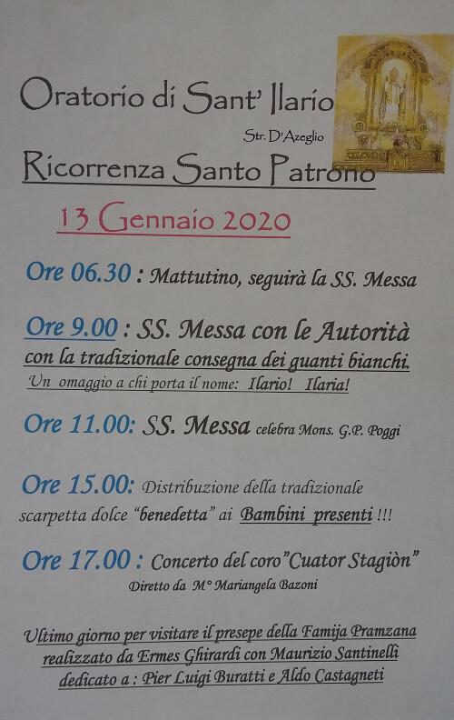 """Sant'Ilario: le celebrazioni nel """"suo"""" Oratorio"""