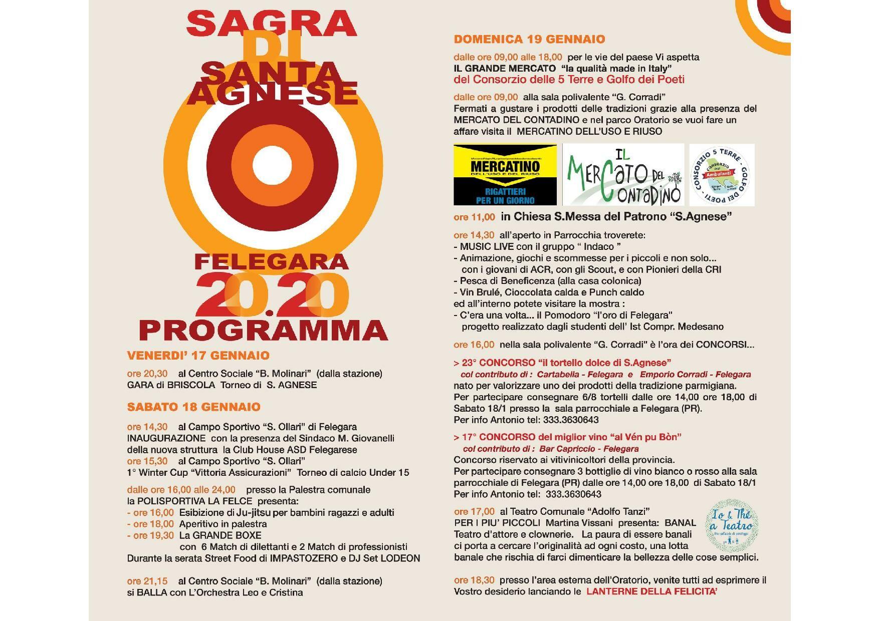 Sagra di Sant'Agnese a Felegara, programma dal 17 al 19 gennaio