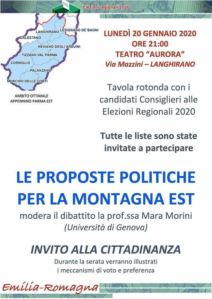 Tavola rotonda con i candidati Consiglieri alle Elezioni Regionali 2020 a Langhirano