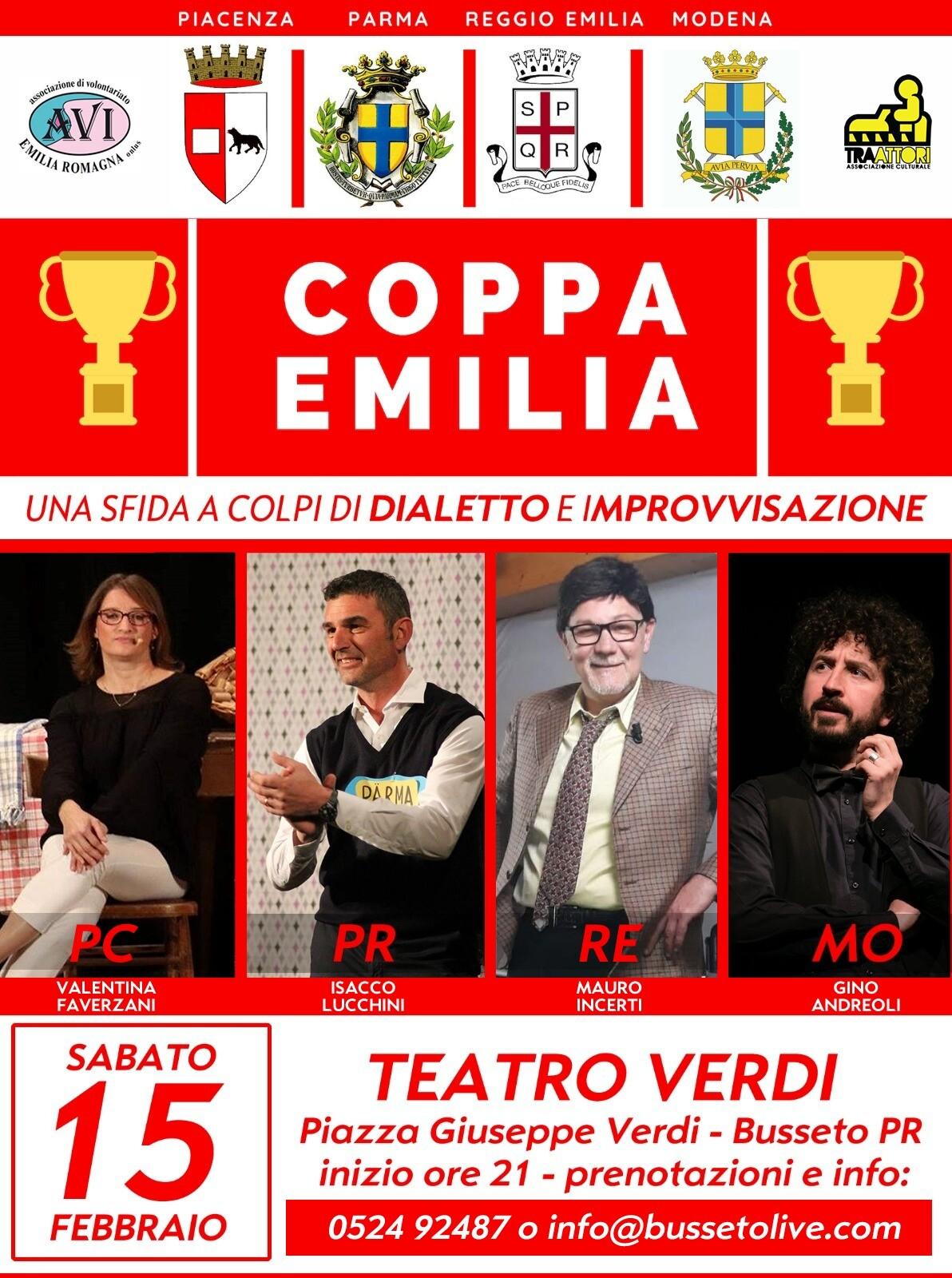 Coppa Emilia Spettacolo di scenette comiche in dialetto a favore  AVI Emilia Romagna Onlus