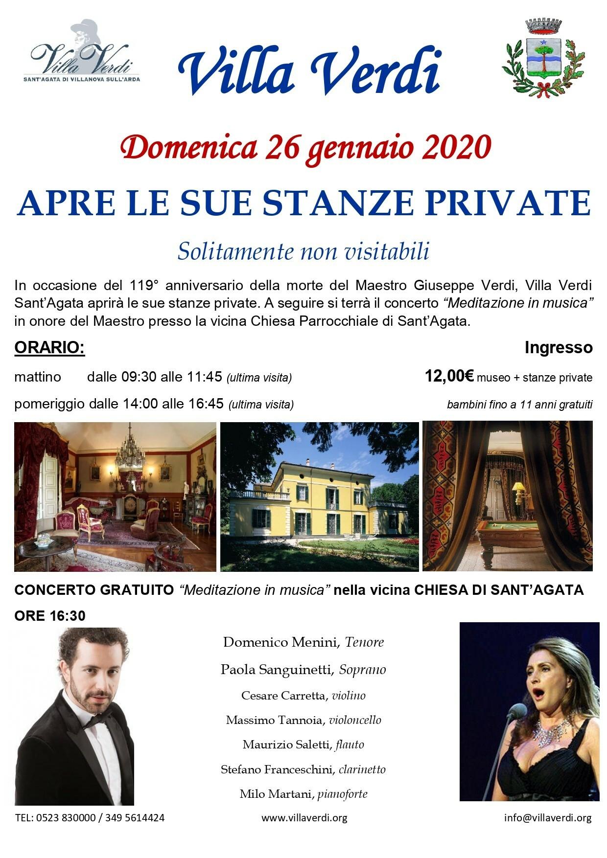 Apertura straordinaria delle stanze private di Villa Giuseppe Verdi in occasione del 119° anniversario della morte del Maestro.