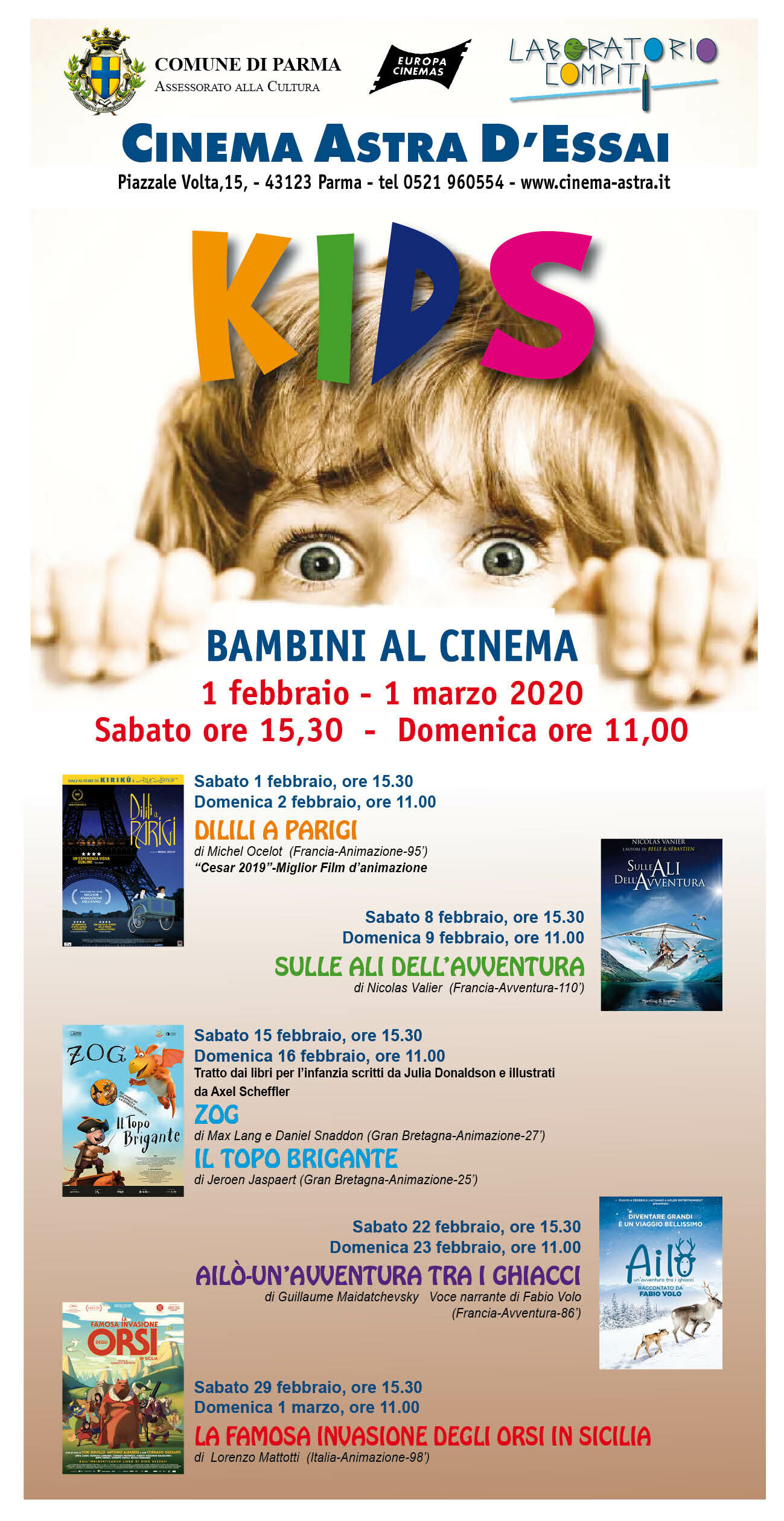 Al cinema Astra rassegna KIDS-BAMBINI AL CINEMA