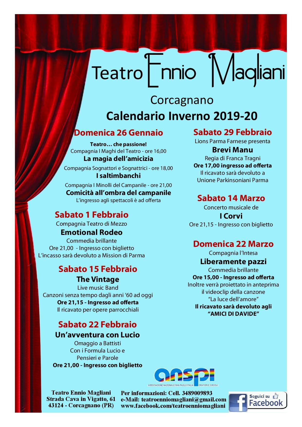 Programma spettacoli al teatro Ennio Magliani