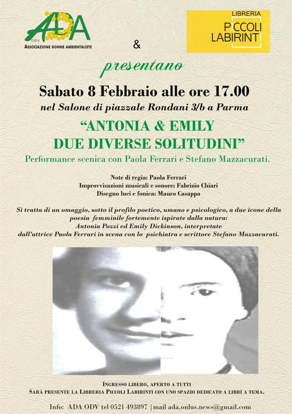 """Antonia & Emily.Due diverse solitudini"""" performance scenica con Paola Ferrari e Stefano Mazzacurati"""