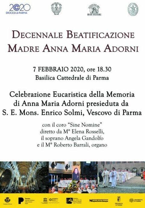 Decennale beatificazione Madre Anna Maria Adorni