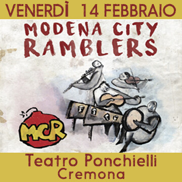 "MODENA CITY  RAMBLERS   La band emiliana in teatro con  ""RIACCOLTI IN TEATRO""  al  Teatro Ponchielli - Cremona"