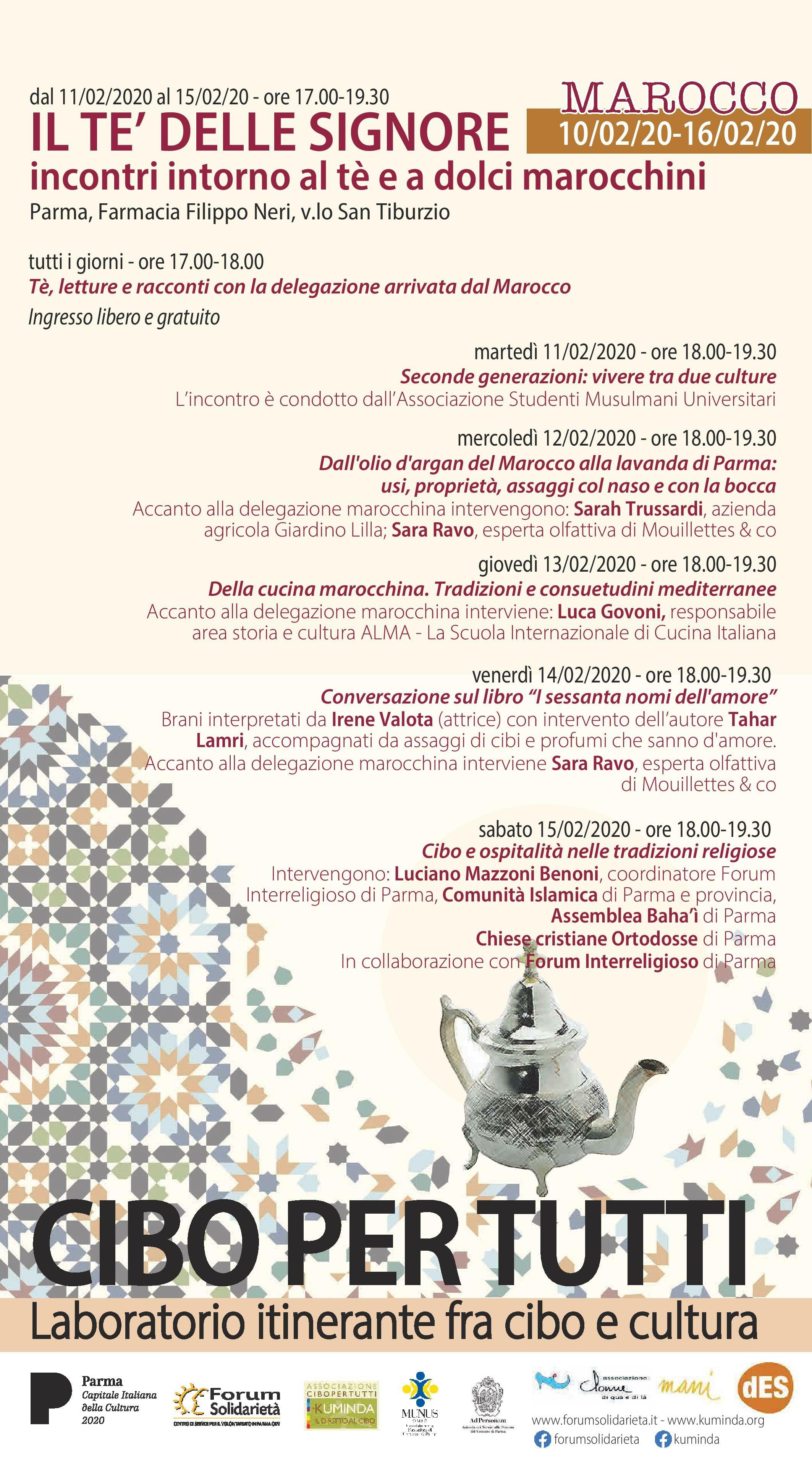 Laboratori itineranti fra cibo e cultura   Dal 10 al 16 febbraio il ponte fra Parma, capitale della cultura e Marocco