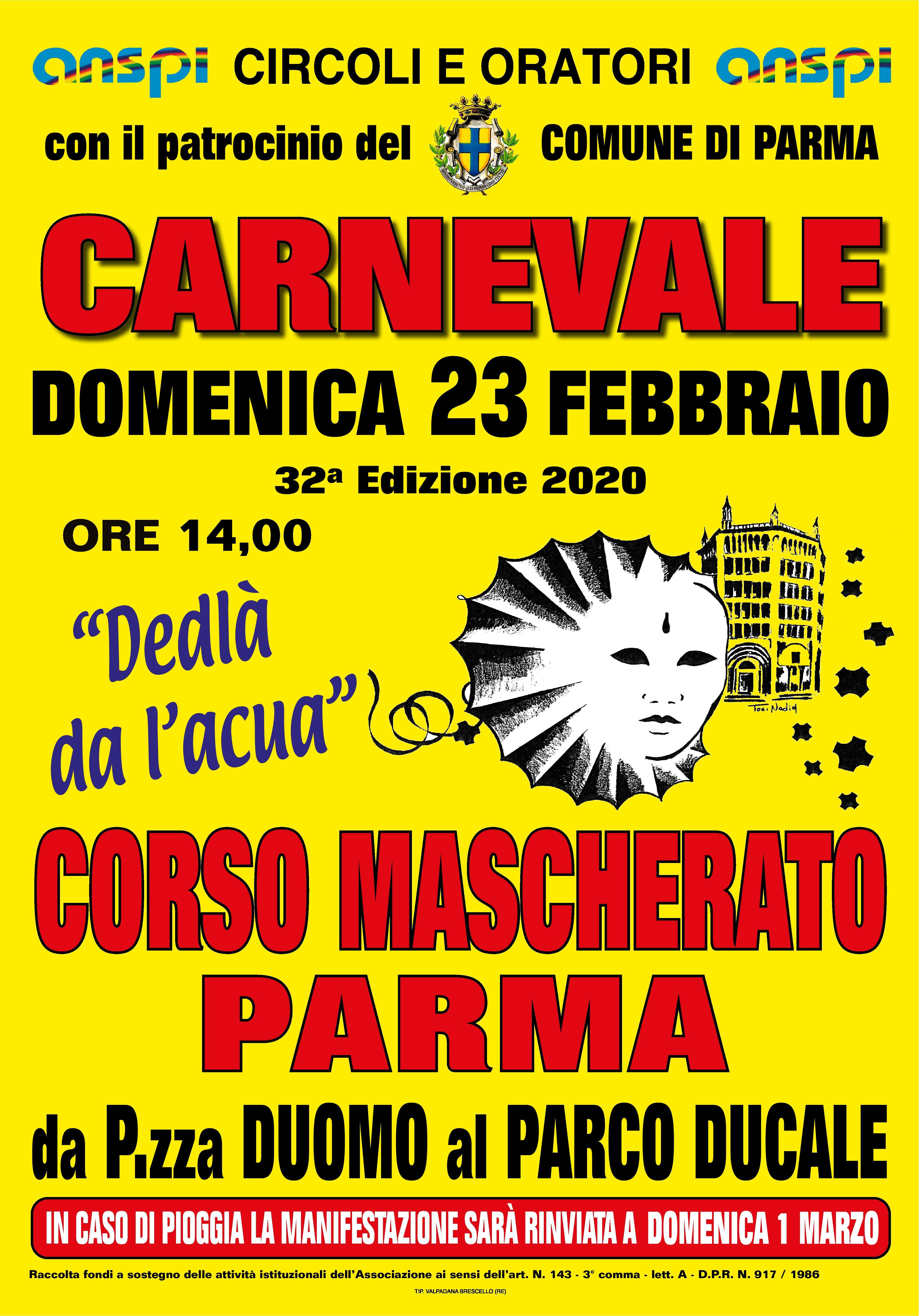 """Carnevale  """"Dedlà da l'acua"""" a Parma"""