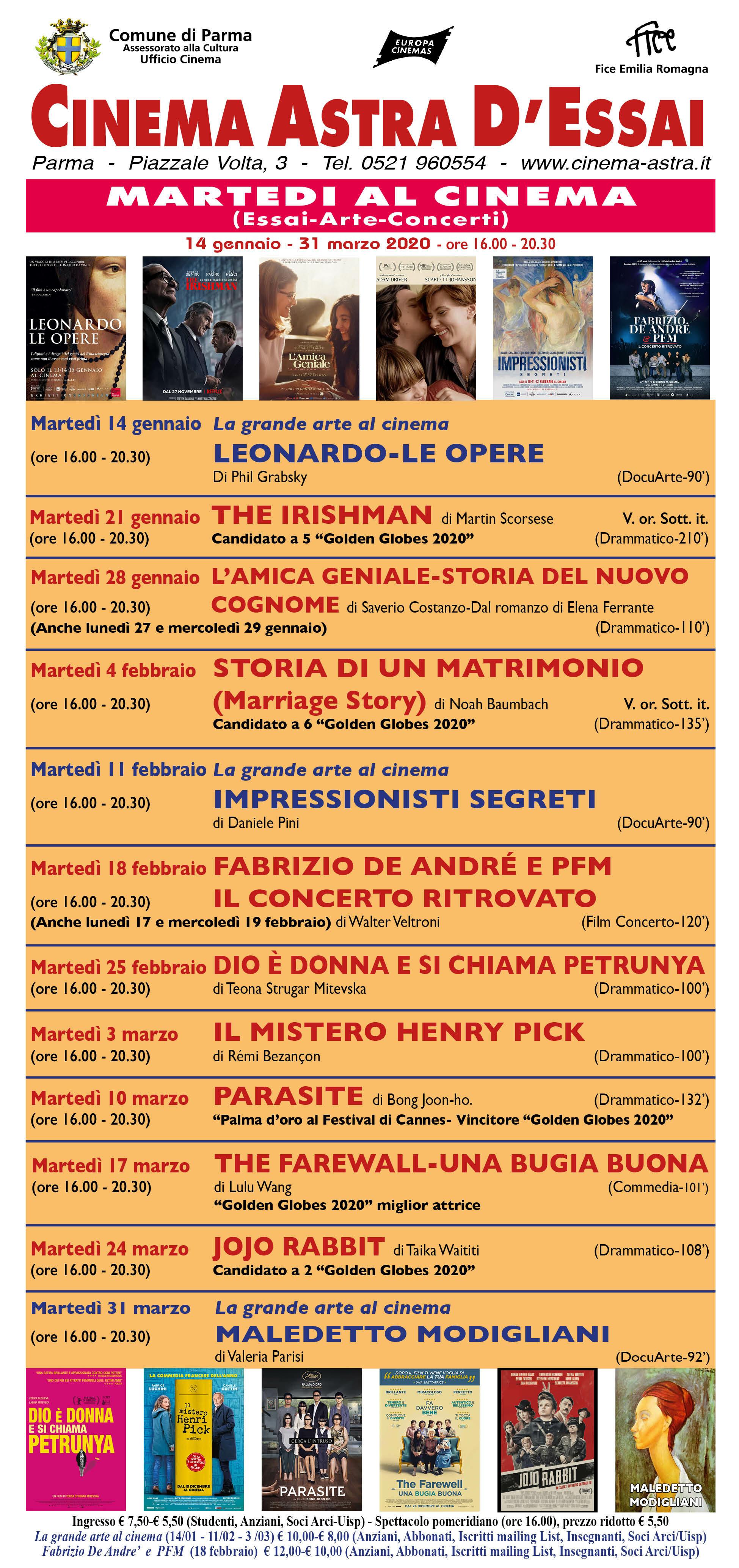 MARTEDI' al cinema (Essai-Arte-Concerti) al CINEMA ASTRA
