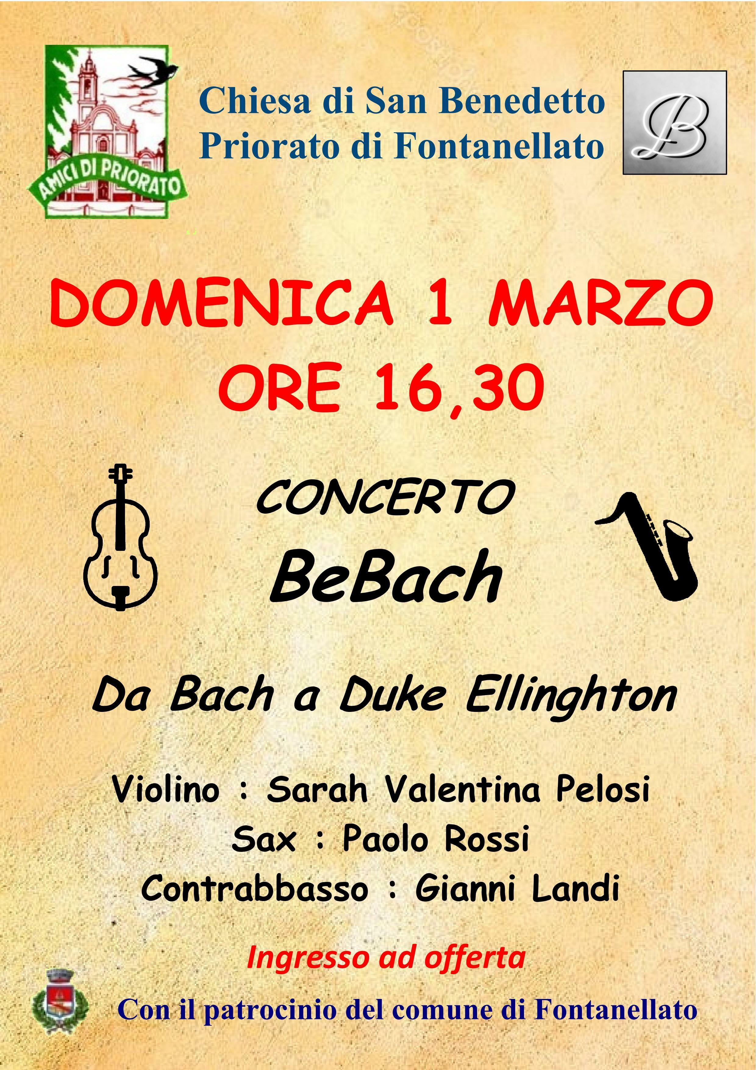 Concerto BeBach, musiche proposte da Bach a Duke Ellinghton nella chiesa di San Benedetto in Priorato.