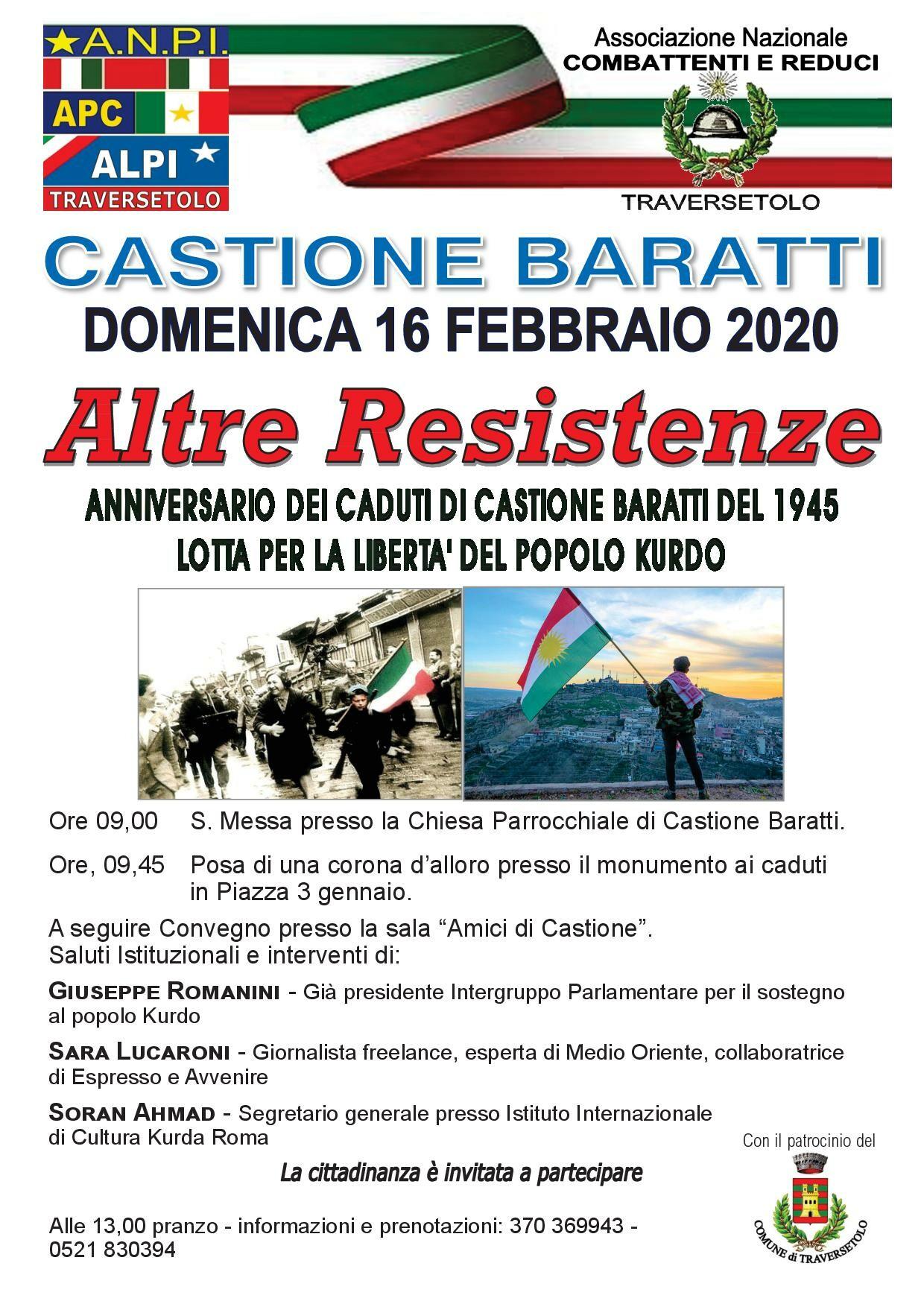 """""""Altre Resistenze"""", anniversario dei caduti di Castione Baratti del 1945 e lotta per la libertà del popolo Kurdo"""