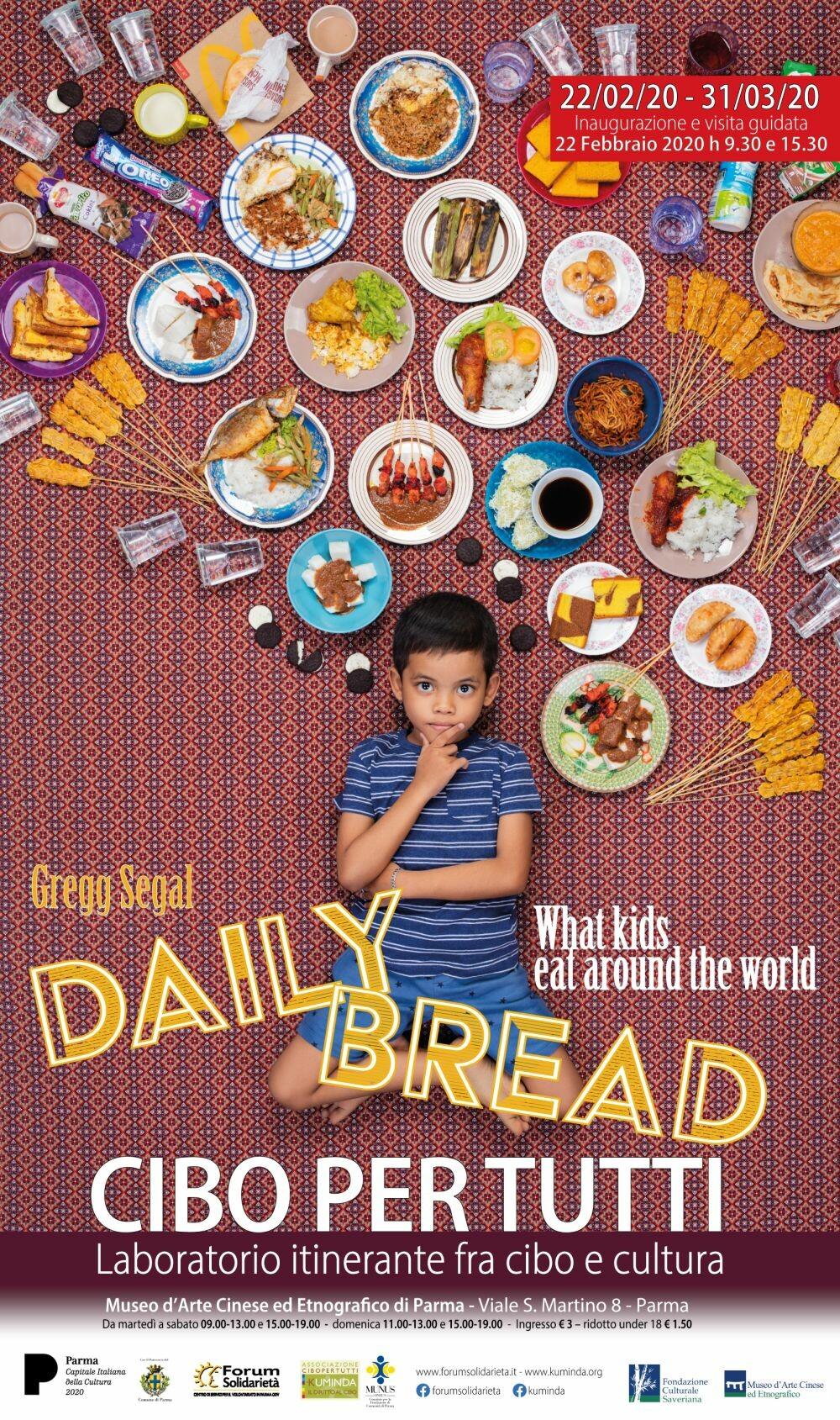 Mostra fotografica Daily bread , mostra di Gregg Segal che  racconta cosa mangiano i bambini del mondo in venti coloratissimi scatti