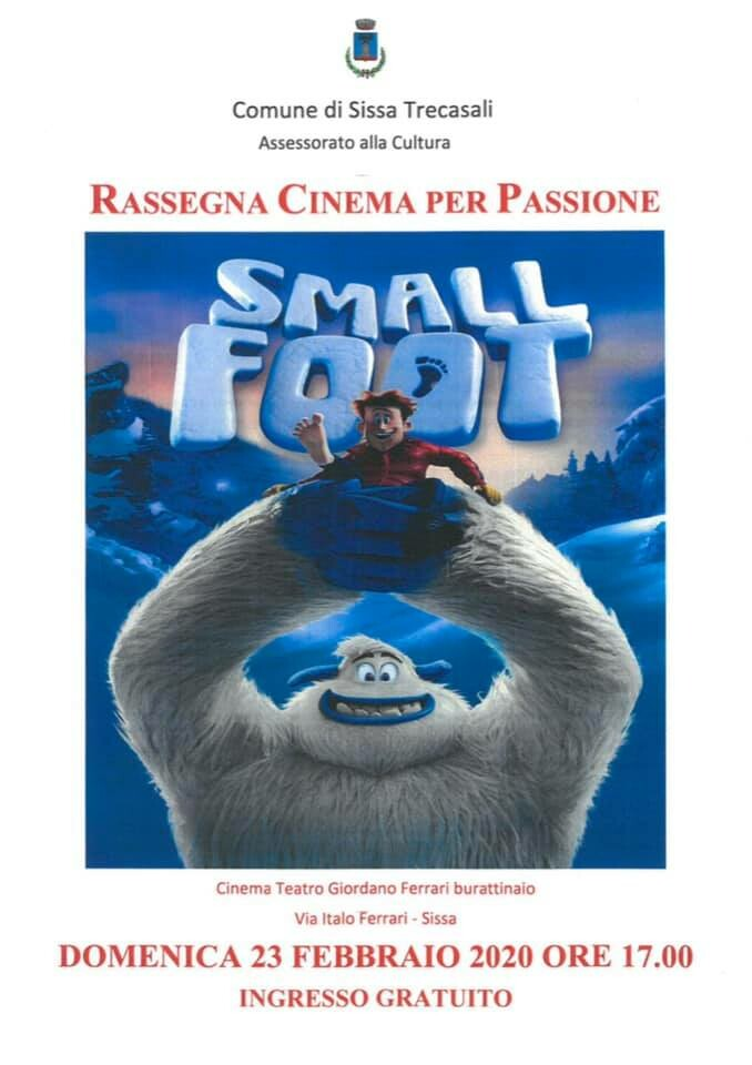 """RASSEGNA CINEMA PER PASSIONE :  """"Small Foot"""