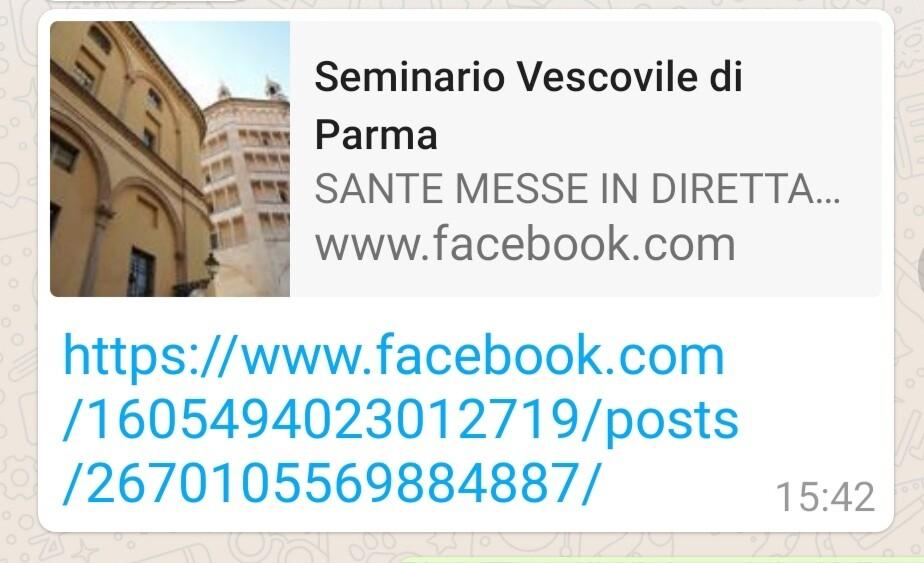 Seminario vescovile di Parma: le Sante messe vanno su facebook