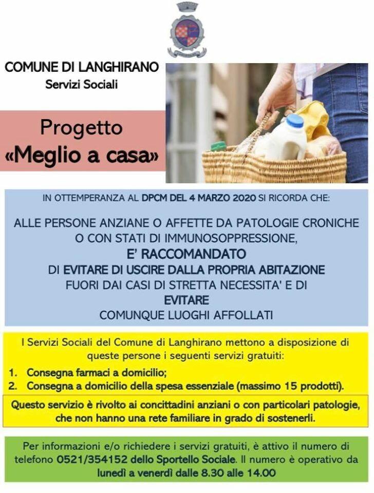 """LANGHIRANO: PROGETTO """"MEGLIO A CASA"""", per la consegna di spesa e farmaci a domicilio per le persone anziane o immunodepresse"""