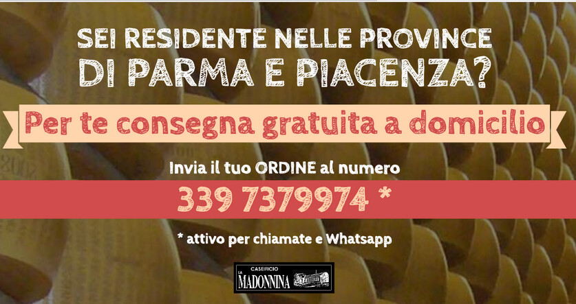 """Il caseificio """"LA MADONNINA"""" consegna il parmigiano e altre bontà in tutta Italia"""